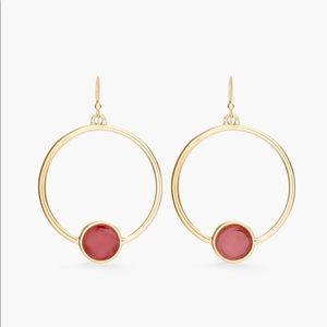 Chico's pink bead drop hoop earring